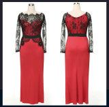 Europa-reine Farben-Spleißstelle-reizvolle Muster des langen Spitze-Abend-Kleides