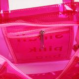 2 Tamaños impermeable de PVC color del caramelo de la jalea de las mujeres bolsa de asas