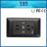 Standaard stoppen ons de Opgezette Contactdoos van het Gat Muur met 2 Havens USB ons Contactdoos van de Muur USB van de Contactdoos van de Macht de Amerikaanse