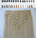 """Doble 22 """" pelo drenado del clip de la extensión 7pieces/70g del pelo de Clipin Remy"""