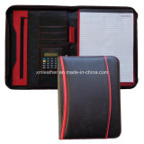 Leather Compendium di A4 Zippered Women con Calculator