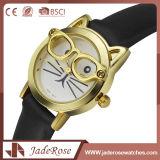 Horloge van het Leer van het Kwarts van de Manier van de Meisjes van de douane het Eenvoudige