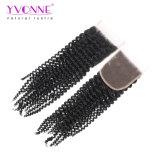 El encierro rizado rizado 4X4 del pelo brasileño de la Virgen de Yvonne libera el envío libre del color natural del encierro del pelo humano de la parte