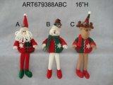 "16 "" H 산타클로스, 눈사람 및 큰사슴 선반 Sittter 크리스마스 훈장, 3 Asst"