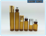 rodillo de cristal ambarino del perfume 10ml en la botella con la bola de rodillo de la tapa de plata y del acero inoxidable