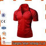 T-shirt rouge élastique de polo de mode d'usine de la Chine pour les hommes