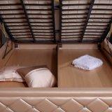 明るいピンクの革ベッドのホームホテルの家具の居間の寝室セットの現代家具、Fb2103