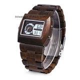 Horloge van het Kwarts van de Mensen van de douane het Met de hand gemaakte Houten met het Dubbele Polshorloge van de Beweging
