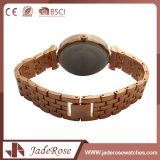 Grande montre ronde de quartz d'acier inoxydable de cadran d'or imperméable à l'eau