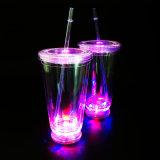 색깔 LED 밑바닥 밀짚 공이치기용수철을%s 가진 16oz 아크릴 공이치기용수철