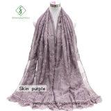 Sticken neueste Dame Fashion Silk Scarf des Entwurfs-2017 mit Spitze