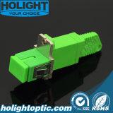 Adattatore ibrido E2000A a verde monomodale su un lato di Sca