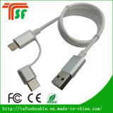 Cabo do adaptador do carregador do USB da liga de alumínio e do nylon 3in1 Micro+Lightnning+Type-C