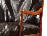 Poltrona de madeira Home moderna do couro genuíno da mobília