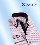 Camicia rossa dell'uomo della banda con il collare ed il polsino di doppio strato