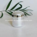 Frasco de creme acrílico ajustado branco do luxo novo/prata para os cosméticos (PPC-NEW-110)