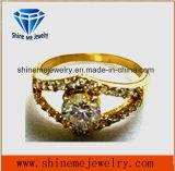 Moda joyería 18k chapado en oro multi anillo de piedra de cristal