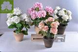 Bianco artificiale del Hydrangea in POT di carta di Mache per Deco domestico
