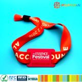 Van het festivalkaartjes NTAG216 van de muziek de stoffenmanchet Geweven armband RFID NFC