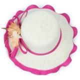 인쇄 형식 리본 밀짚 모자 또는 큰 테두리 여자 바닷가 모자