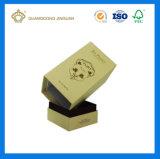 Rectángulo hecho a mano rígido de papel de lujo negro del perfume de la cartulina (con la hoja de la insignia del oro)