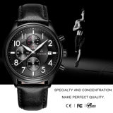 Timeseaメンズスポーツの腕時計の革水晶手は72252を見る