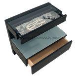 宝石類の収納箱(I&D-1041201)が付いている現代木の光沢度の高いカーキ色のベッドサイド・テーブル