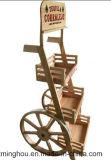 Estante de madera popular y creativo del vino de la visualización del vino del carro