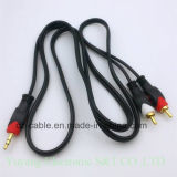enchufe 2RCA/2r/Gato 3.5mm/3.5 al cable estéreo del enchufe AV/TV/DVD/VCD/Video/Audio/Media (2R-3.5)