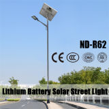 Prezzi dell'indicatore luminoso di via solare della batteria di litio di 12V 30ah con 6m Palo 30W~120W LED