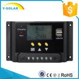 12V 24V 30A com indicador do LCD e o controlador solar duplo da carga do USB com Ce RoHS Sm30