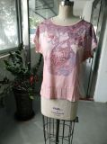 Beaux vêtements occasionnels roses de T-shirt de Women d'été