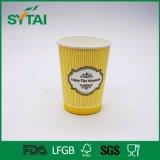 Tazza di carta di alta qualità di colore chiaro dell'ondulazione della parete del tè della bevanda calda sveglia del caffè