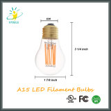 UL Aprovado LED Filament Bulb A15 6W Clear Glass Light