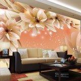 Papel de parede floral elegante autoadesivo impermeável das pinturas murais do vinil de Lovey para a sala de visitas