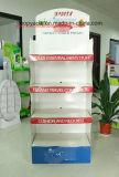 4棚はCmykのオフセット印刷、OEM/ODMサービスを用いるボール紙のフロア・ディスプレイをカスタマイズした