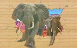 Die gehenden Tapeten-Wandbilder des Elefant-3D für Hauptdekor