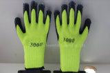акриловая зеленая перчатка безопасности раковины 7g с латексом Crinkle покрыла