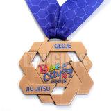 中国の工場カスタム旧式で古い銅賞のスポーツのリボンの広い締縄が付いている連続した競争のフィニッシャーメダル