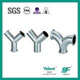 Type serré sanitaire té de l'acier inoxydable Y d'ajustage de précision de pipe