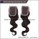 Выдвижения волос закрытия шнурка Китая волосы Remy оптового индийские в естественном черном цвете