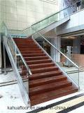Hecho en la escalera de madera de cristal del acero inoxidable de China 304