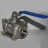 valvola a sfera del filetto dell'acciaio inossidabile 3PC con la sfera di galleggiamento