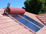 Sun pôr o calefator de água solar do painel da placa lisa