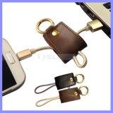 22cm Carregador de dados de couro portátil Micro cabo com conector de chaveiro Cabo de carregadores de celular para Samsung Galaxy S6 S7 Edge Note 5
