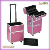 Artists (SATCMC019)를 위한 분홍색 Striped ABS Surface Rolling Makeup Train Case