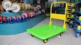 300 Kilogramm-grüne Farben-Plattform-Handkarren-geräuschlose Plastiklaufkatze