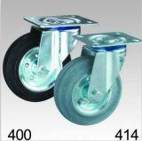 Schwarze Gummihochleistungsschwenker-Platten-Oberseite-Fußrolle