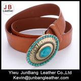 Courroies en cuir d'unité centrale de dames de mode avec des pierres de turquoise