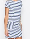De Kleding van de T-shirt van de Streep van de Vrouwen van de Manier van de douane met Porket